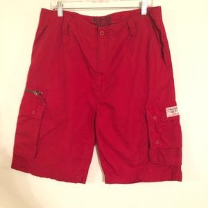 Nautica Jeans & Co . Men's Red Cargo Shorts Sz 34